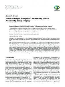 Research Article Enhanced Fatigue Strength of