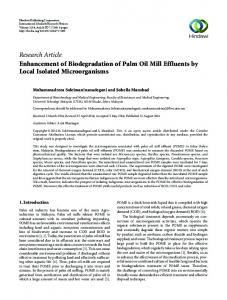 Research Article Enhancement of Biodegradation of