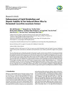 Research Article Enhancement of Lipid Metabolism ...