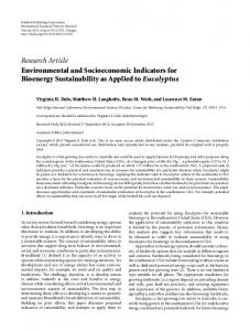 Research Article Environmental and Socioeconomic ... - Bioenergy KDF