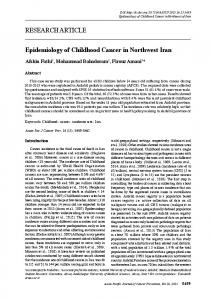 RESEARCH ARTICLE Epidemiology of Childhood Cancer in ...