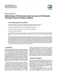 Research Article Epidemiology of Malocclusion and