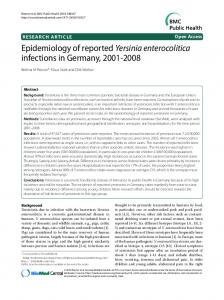 Research article Epidemiology of reported Yersinia enterocolitica ...