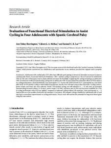 Research Article Evaluation of Functional Electrical ... - ScienceOpen