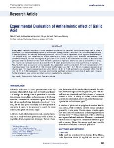 Research Article Experimental Evaluation of Anthelmintic ... - PhcogFirst