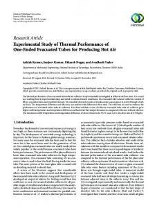 Research Article Experimental Study of Thermal ...