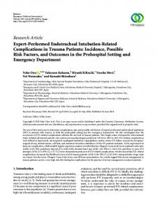 Research Article Expert-Performed Endotracheal Intubation ... - Hindawi