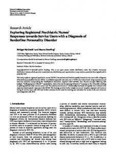 Research Article Exploring Registered Psychiatric ... - BioMedSearch