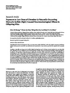 Research Article Exposure to Low Dose of Cinnabar (a ... - ScienceOpen