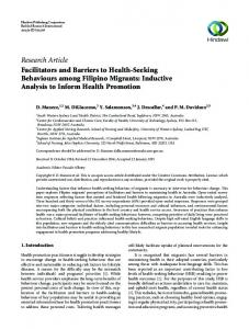 Research Article Facilitators and Barriers to Health ...