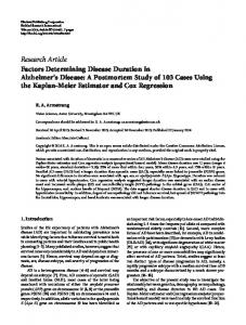 Research Article Factors Determining Disease ... - BioMedSearch