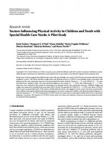 Research Article Factors Influencing Physical Activity ... - ScienceOpen