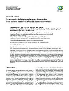 Research Article Fermentative Polyhydroxybutyrate