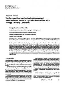 Research Article Firefly Algorithm for Cardinality ... - BioMedSearch