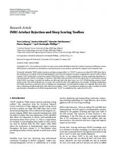Research Article fMRI Artefact Rejection and Sleep Scoring ... - ORBi