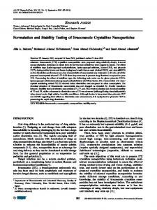 Research Article Formulation and Stability Testing of Itraconazole ...