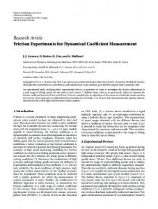 Research Article Friction Experiments for Dynamical Coefficient