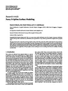 Research Article Fuzzy B-Spline Surface Modeling