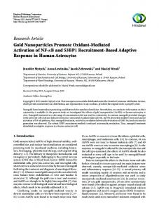Research Article Gold Nanoparticles Promote Oxidant