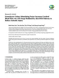 Research Article Granulocyte-Colony Stimulating Factor Increases ...