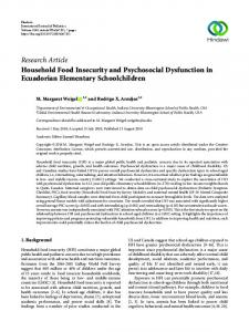 Research Article Household Food Insecurity and ...