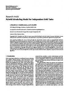 Research Article Hybrid Scheduling Model for Independent Grid Tasks