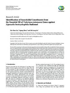 Research Article Identification of Insecticidal ...