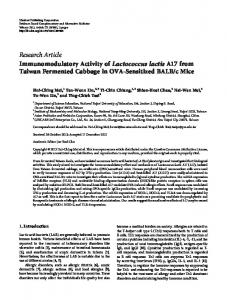 Research Article Immunomodulatory Activity of ... - ScienceOpen