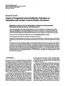Research Article Impact of Integrated Amrita Meditation Technique on