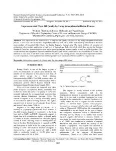 Research Article Improvement of Clove Oil Quality by Using ...