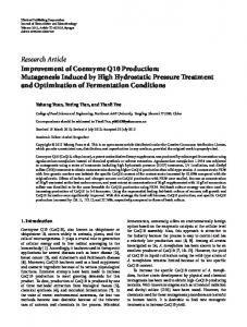 Research Article Improvement of Coenzyme Q10 Production ...