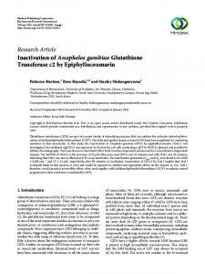 Research Article Inactivation of Anopheles gambiae ... - Hindawi