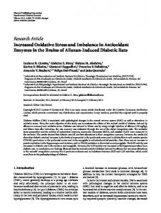 Research Article Increased Oxidative Stress and ... - ScienceOpen