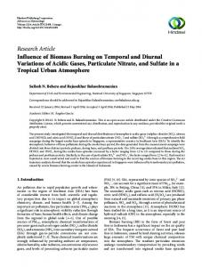 Research Article Influence of Biomass Burning on