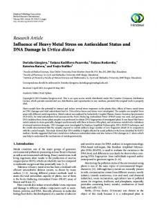 Research Article Influence of Heavy Metal Stress on Antioxidant Status ...