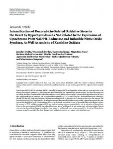 Research Article Intensification of Doxorubicin-Related ... - ScienceOpen