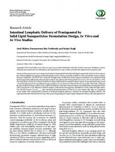 Research Article Intestinal Lymphatic Delivery of Praziquantel by Solid ...