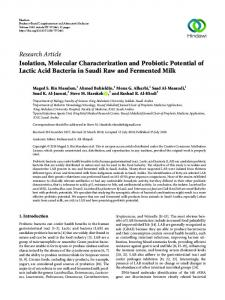 Research Article Isolation, Molecular Characterization