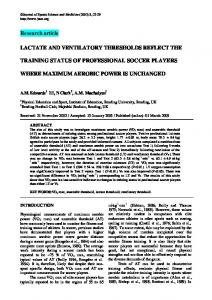 Research article LACTATE AND VENTILATORY THRESHOLDS ...
