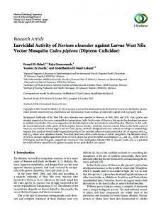 Research Article Larvicidal Activity of Nerium ...