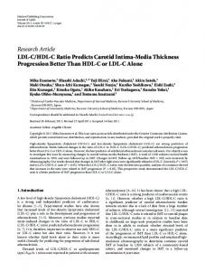 Research Article LDL-C/HDL-C Ratio Predicts Carotid ... - ScienceOpen