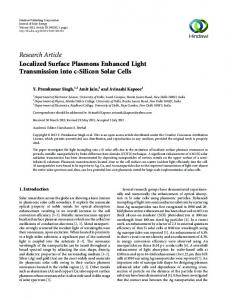 Research Article Localized Surface Plasmons ...