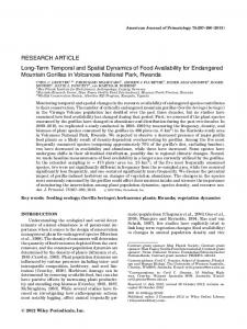 RESEARCH ARTICLE Long-Term Temporal and Spatial Dynamics of ...