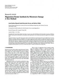 Research Article Magnesium Borate Synthesis by