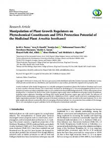 Research Article Manipulation of Plant Growth ...
