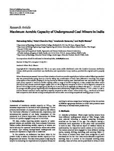 Research Article Maximum Aerobic Capacity of ...