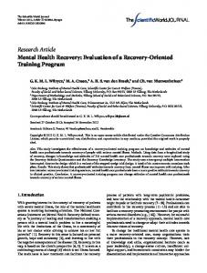 Research Article Mental Health Recovery: Evaluation ...