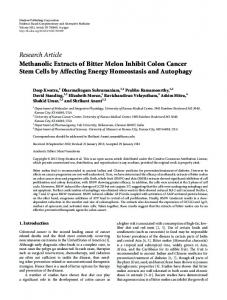 Research Article Methanolic Extracts of Bitter Melon ... - BioMedSearch