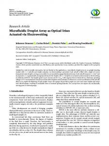 Research Article Microfluidic Droplet Array as Optical