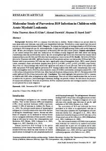 RESEARCH ARTICLE Molecular Study of Parvovirus B19 Infection in ...